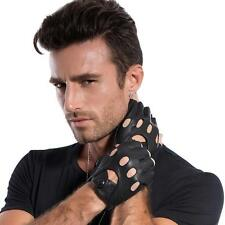 MATSU Mens Fashion Black Fingerless for Rivets DIY Driving Leather Gloves
