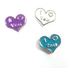 I Love You Heart Silver Floating Charm for Living Glass Memory Locket