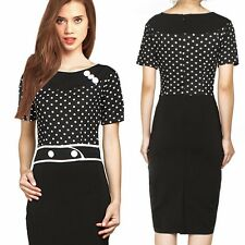 Polka Dot OL Round Buttons Women's Business Career Party Secretary Pencil Dress