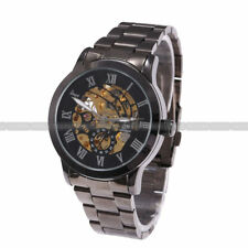 New Mens Stainless Steel Luxury Automatic Mechanical Skeleton Wrist Watch Fast