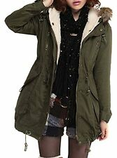 New Womens Winter Warm Hooded Jacket Thicken Fleece Parka Coat Army Green  Xmas