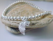 Ladies Stretch Bracelet 925 Sterling Silver Beads Heart Curvy Angel Wing Charms