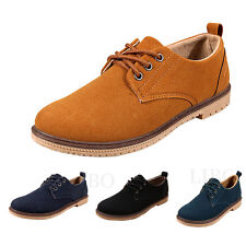 Mens Vintage Suede Leathe Lace up Shoes Formal Office Driving Casual Flat Brogue