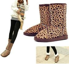 Sexy Women Winter Warm Fur Leopard Snow Boots Buskin Suede Mid-Calf Flat shoes