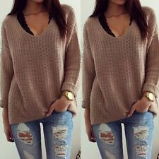 Women V-Neck Long Sleeve Knitted Pullover Jumper Loose Sweater Knitwear Tops L46