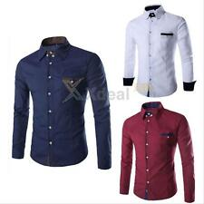 New Mens Stylish Slim Fit Long Sleeve Formal Shirts Button Down Dress Shirt Tops