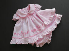 Girls Premature Prem Pink Embroidered Dress Knickers Hat Tiny Baby Set Outfit