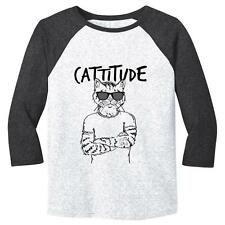 Cattitude Mens Baseball Shirt Cats Humor Soft Comfy Top Triblend