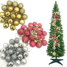 CHRISTMAS TREE ORNAMENT DECORATIONS SHATTERPROOF BAUBLES PLAIN,GLITTER & GLOSSY