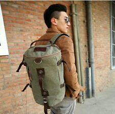 Unisex Canvas Leather Hiking Trekking Travel Trip  Messenger Tote Bag Backpack