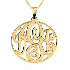 Personalized Monogram Necklace Circle 3 Initials Letter NEW Monogrammed Pendant