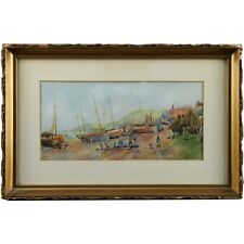 Original Impressionist Fishing Boat Watercolour Painting c1910 Signed Adolph