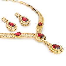 Janeo Golden Indian Garland Necklace, Bracelet, Earrings and Ring Set