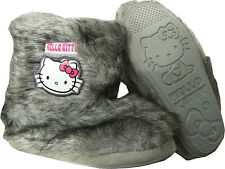 NEW GIRLS GREY HELLO KITTY SLIPPERS BOOTIES FAUX FUR CHILDREN'S SHOES SIZE 8-2
