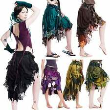 HIGH-FRONT RAGGED PIXIE WRAP SKIRT, steampunk, burlesque, psytrance, Boho, gypsy