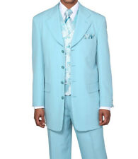 Men's 4 Button Poplin Dacron Solid Fashion Suit 6903 w/ Paisley Vest Aqua 38-56