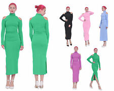 WOMENS COLD SHOULDER TURTLENECK MAXI BODYCON LONG SLEEVE COCKTAIL PARTY DRESSES