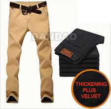 Men winter fleece lined cotton casual trousers Thickenned pants Straight jean
