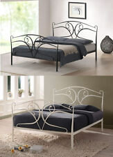 Seline 4ft6 Double 5ft King Size Gothic Style Ivory Black Metal Bed & Mattress