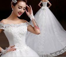 White/Ivory Long Wedding Dress Bridal Gown Custom 2/4/6/8/10/12/14/16/18/20/22++