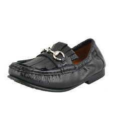 Gucci Toddler Black Patent Leather Horsebit Loafer Shoes Sz 8 10