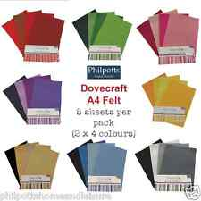 Craft Felt Sheets Dovecraft 8 x A4 Multipack Craft Die Cutting Cardmaking Sewing