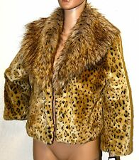 NWT INC Faux Leopard Fur Coat animal print cropped Jacket $139 Cheetah Animal