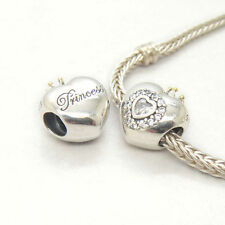 Authentic S925 Silver / Gold Charm Princess Heart charm with white Cz Bead