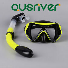 Swimming Diving Mask Snorkel Protective Goggles Set Tempered Glasses Adult Kid