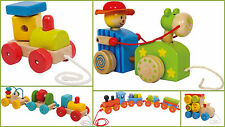 Pull Along Trains Locomotive Loco Carriage Wooden Baby Gift Toys