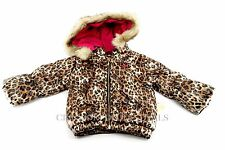 NEW Juicy Couture Girls Leopard Print & Faux Fur Hood Puffer Jacket 12M 18M 24M