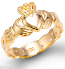 Ladies Yellow Gold Claddagh Ring with Celtic Band 10k 14k
