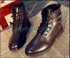 Mens New Retro Buckle Strap Ankle Boots High Top Lace Up Flat Casual Shoes Size