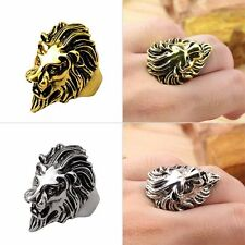 Stainless Steel Lion Head Ring Men Vintage Cool Ring American Size 8-10 Fashion