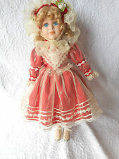 "Porcelain Doll in Red/Lace Victorian Style Dress-18""-freeUSAship/Free Gift Wrap"