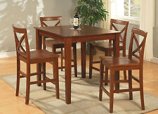 "36"" SQUARE COUNTER HEIGHT DINING ROOM TABLE PUB SET IN BROWN  FINISH"