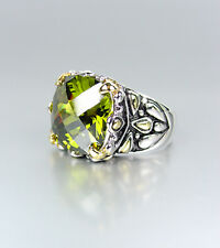 *NEW* Designer Inspired Olive Peridot CZ Crystal Silver Gold Balinese Ring