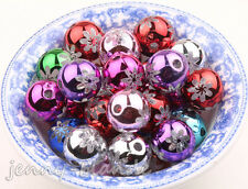 10/50pcs Mixed Acrylic Carved Flower Loose Spacer Bead Charm Making 14mm