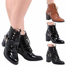 Crystal Womens Mid High Block Heels Lace Up Detail Ladies Ankle Boots Shoes Size