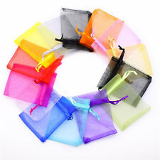 10 Pcs Colorful Organza Jewelry Candy Gift Pouch Bags Wedding Party Favors 7x9cm
