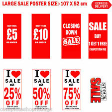 New Sale Stock Clearance I Love Sale Red/White Window Posters And Sale Signs
