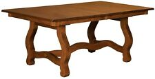 Amish Handcrafted Carolina Trestle Dining Room Table Solid Wood Extending