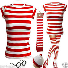 LADIES GIRLS FANCY DRESS WHERE'S WALLY'S STYLE T-SHIRT HAT GLASSES SOCKS TOP SET