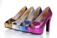 Womens New Platform Chunky High Heels Pumps Sandals Peep Toes Sandals Shoes Size
