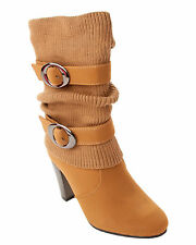 WOMENS TAN CUBAN HEEL ZIP WINTER SOCK MID CALF BUCKLE BOOTS LADIES UK SIZE 3-8