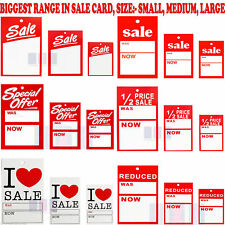 SALE CARDS SPECIAL OFFER REDUCED WAS NOW CARD PRICING GUN HANGER SWING TICKETS