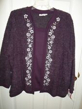 CATHY DANIELS PURPLE WHITE EMBROIDERED FLORAL MOCK LAYER CARDIGAN SWEATER 1X 3X