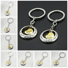 Family Charm Keyring Keychain Gift Mom Daughter Sister Dad Heart Key Ring Chain&