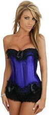Boned Lace Up Satin Corset Bustier Costume Fancy Dress Up Purple with G string