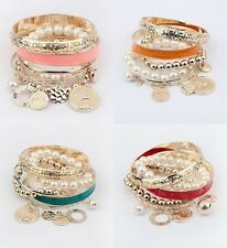 Hollow Pearl Coins Element Avatar Statement Charm Multilayer Bangle Bracelet